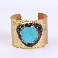 Charms turchesi blu pavimenta con strass perline color oro regolabile apri big ampia wrap martellato braccialetto del braccialetto del polsino per le donne