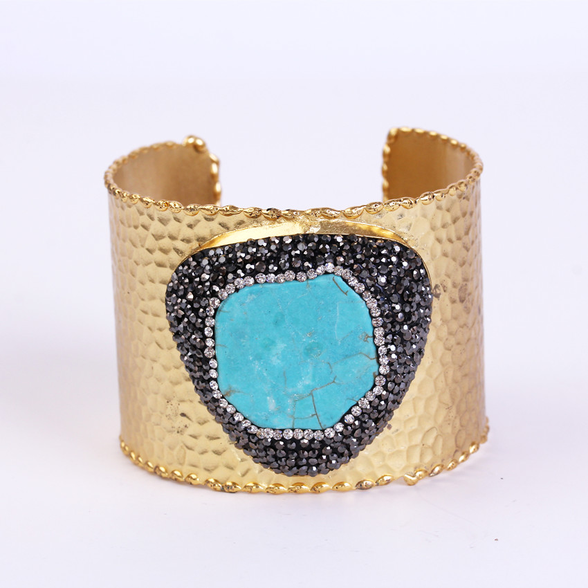 charms blue turquoises pave rhinestone bead adjustable gold color open big wide wrap hammered bracelet bangle cuff for women delicate rhinestone filigree butterfly solid color ear cuff for women