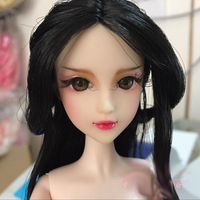 Doll Head / Black Hair Brown 3D Eyes Real Eyelash Hand Drawing Make Up Head Accessories DIY For Xinyi OB White Skin Doll Toy