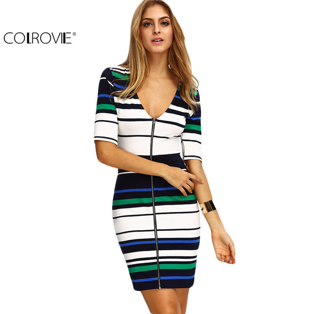 COLROVIE Vintage Summer Style 2017 New Arrivals Sexy Women Bodycon Dresses Royal Fitness Blue Zipper Striped Color Block Dress