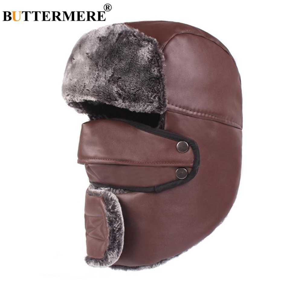 ba9a5bb3 BUTTERMERE Bomber Hats Ushanka Winter Hats For Men Brown PU Leather Russian  Hat Unisex Motorcycle Windproof