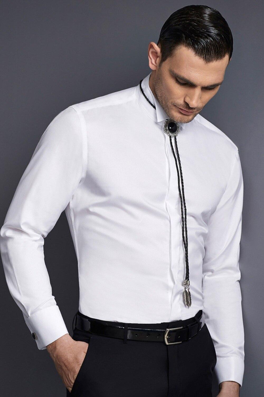 Nouveau design 100% coton blanc diamant motif aile col avec manchette française et patte dissimulée hommes mariage chemise de smoking