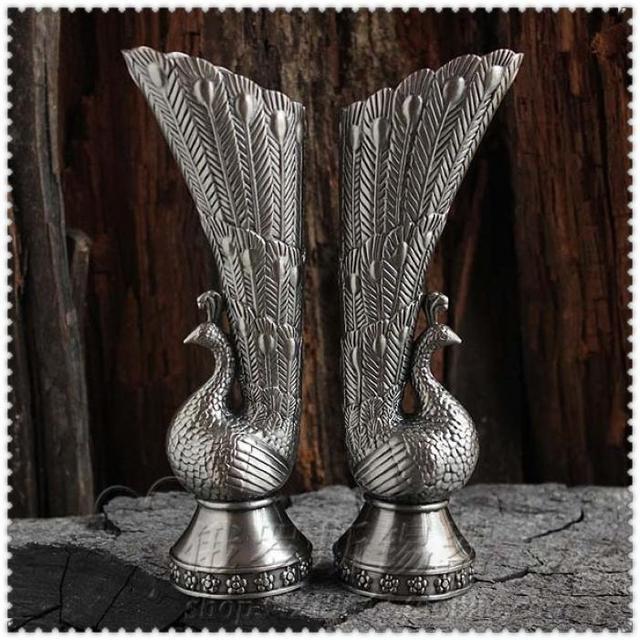 2pcspair Fashion Tin Vase Brief Vintage Russia Pewter Flower Home