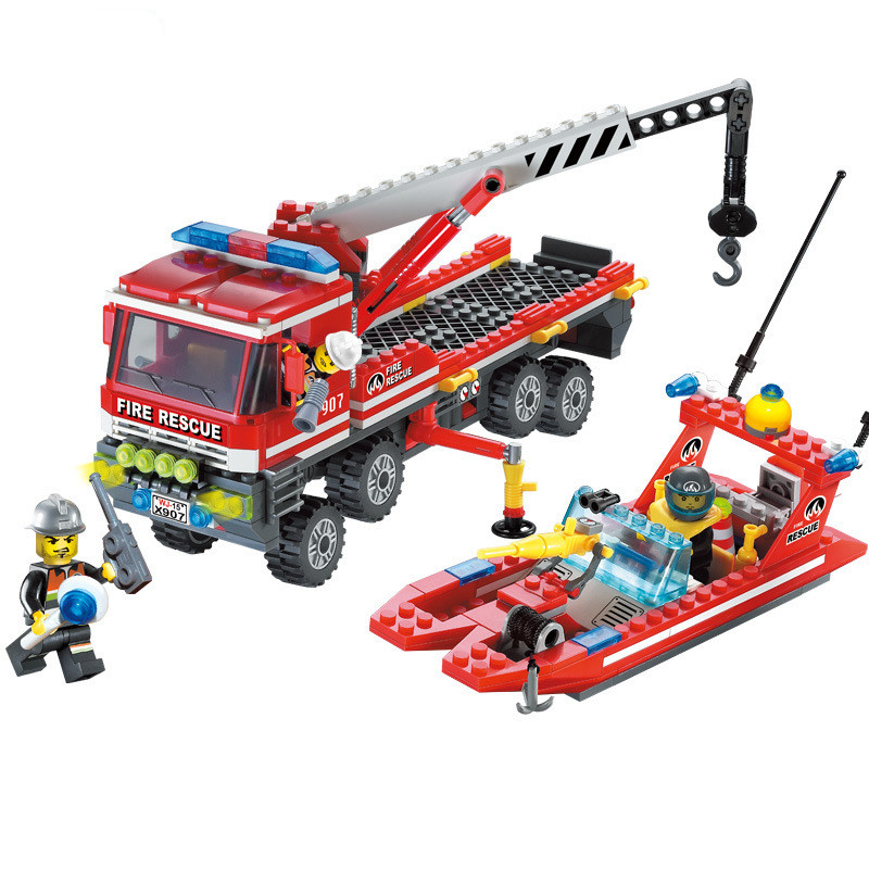 City Fire Rescue Truck Boat Model Building Block Set Boys Educational Toys Compatible Baby children Kids toys gifts christmas #H wange city fire emergency truck action model building block sets bricks 567pcs classic educational toys gifts for children