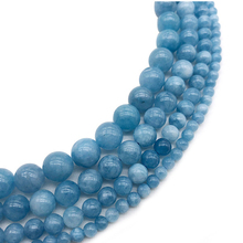 Natural Stone Beads Blue Aquamarin Angelite Jades Round Beaded beads 4 6 8 10 12mm DIY For Jewelry Making Bracelet Woman