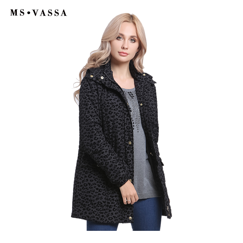 MS VASSA Ladies Jackets 2018 New Autumn Winter Women coats with flock print flower turn down