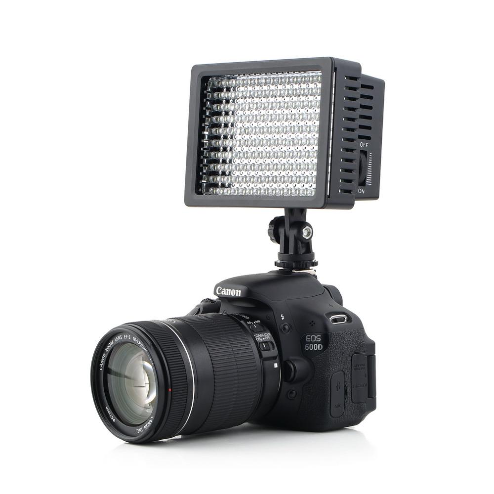 Prix pour 160 LED Vidéo Caméra HD Lumière Lampe 12 W 1280LM 5600 K/3200 K Dimmable pour Canon pour Nikon pour Pentax Camera Vidéo Caméscope