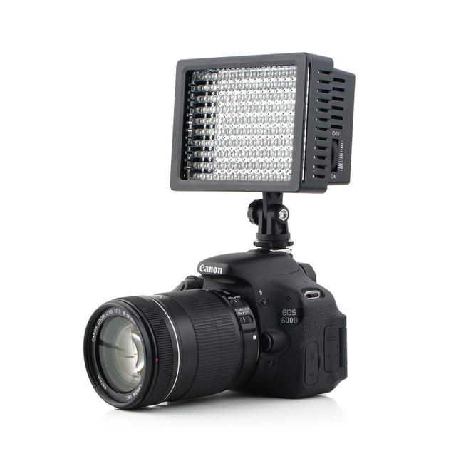 160 led cámara de vídeo hd luz de la lámpara de 12 w 1280lm 5600 k/3200 k regulable para canon para nikon para cámara pentax cámara de vídeo