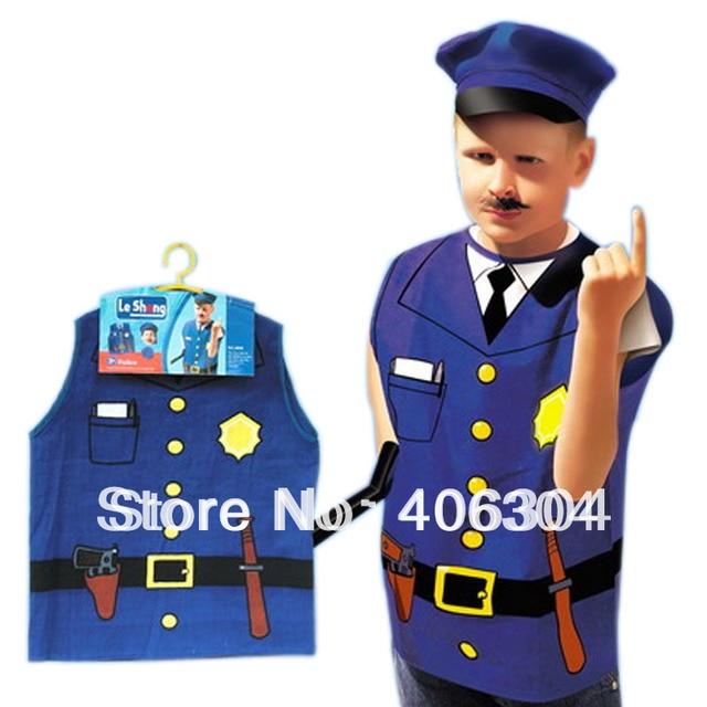 Бесплатная доставка, Дети Хэллоуин праздничное платье до Ролевой костюм  профессия униформы Полиция Полицейский костюм для 4a4acd440db