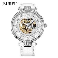 2016 Новый Burei Скелет Движение Роуз Золотой Циферблат Сапфир Объектив Часы Наручные Часы Для Женщин С Белым Кожаным Ремешком
