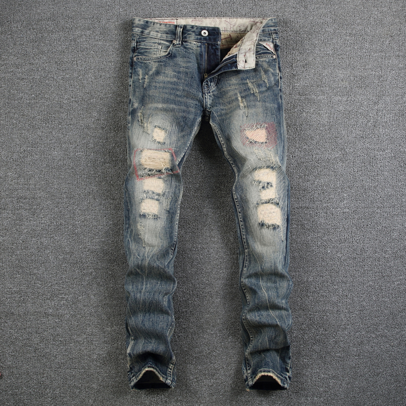 Destroyed Ripped Jeans Mens Pants High Quality Slim Fit Denim Designer Men Jeans Mid Stripe Jeans Men Casual Luxury Trousers Man classic mid stripe men s buttons jeans ripped slim fit denim pants male high quality vintage brand clothing moto jeans men rl617