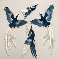 SASKIA 1 комплект 4 шт. вышитые Лоскутные птицы животное металлическая аппликация пошив одежды аксессуары военные нашивки синий зеленый