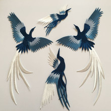 SASKIA 1Set 4Pcs Bird Embroidery Patch Animal Applique Iron On Clothes Sewing Clothing Accessories Military Patches Blue Green