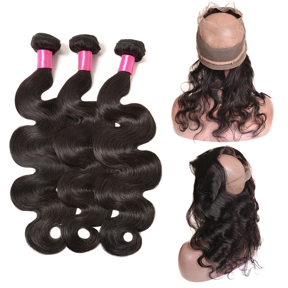 360 Lace Frontal Closure with Bundles Brazilian Body Wave Human Hair 360 Frontal with Baby Hair Remy Hair Weaves Beauty On Line