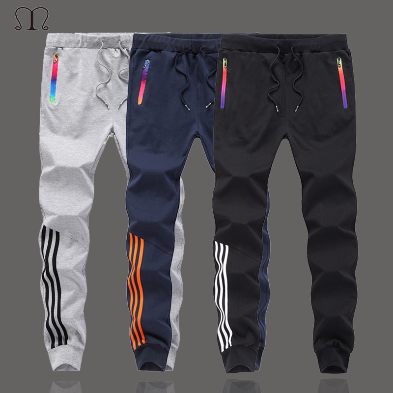 Skinny Pants Men Fashion 2019 Hight-Street Mens Harem Sweatpants  Slim Fit Trousers Men Joggers Sportswear Casual Striped Pants