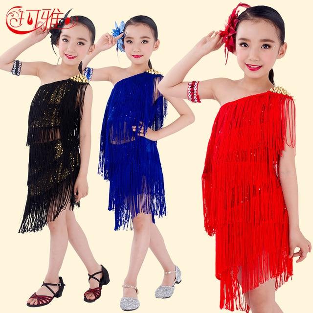 4484580cd3ab Children Latin Dance Dress Children Top + Skirt + Arm Chain + Flower Latin  Dance Costumes Kids Girls Ballroom Factory Direct