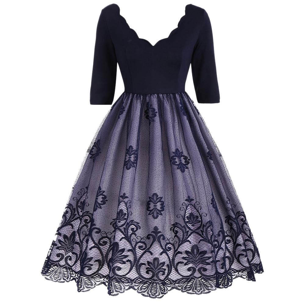 Gamiss Women 2018 Fashion Floral Print Black Midi Vintage Flare ...