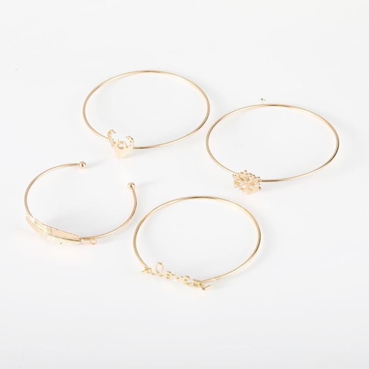 2018 New multi-layer bracelet four-piece gold snow deer head leaf bracelet set for famele free shipping 5