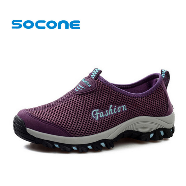 Socone New Summer Breathable Shoes Women Sneakers Sport Shoes 2017 Outdoor  Slip On Running Shoes Women