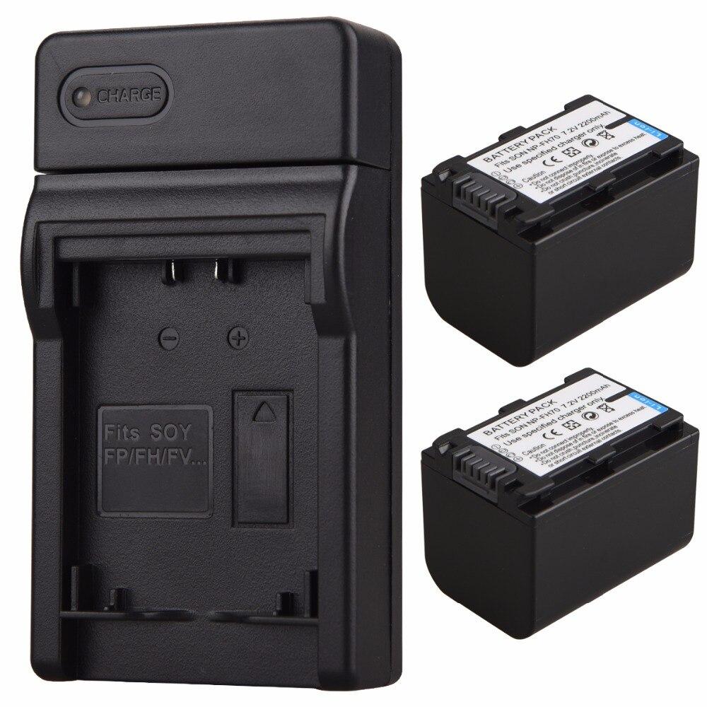 2x2200 mAh NP-FH70 batería + cargador USB para Sony NP-FV100 NP-FH30 NP-FH40 NP-FH60 NP-FH50 NP-FH70 HDR-SR/XR HDR-CX/UX/HC Series