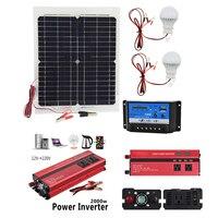 12 В 20 Вт Панели Солнечные с 2000 Вт инвертор 12 В до 220 В 10A Зарядное устройство контроллер и 2 шт. Led лампа монокристаллический солнечных батарей