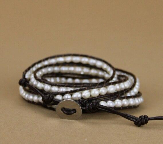 Классический модный браслет пресноводные жемчужины неправильной формы кожаный браслет браслеты жемчужные ювелирные изделия подарок Прямая поставка