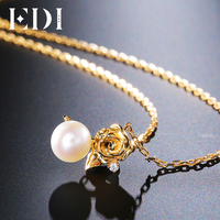 EDI Rose H/SI Diamond 18k Yellow Gold Flower Natural Freshwater Pearls Pendant For Women Fine Jewelry
