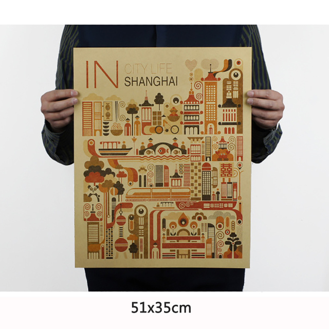 City shanghai 1 day vintage poster retro abstract painting wall art sticker old print posters home
