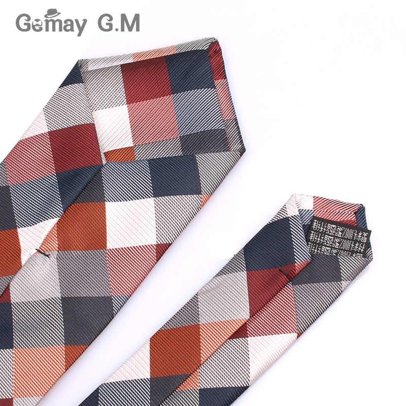 남성을위한 새로운 자카드 직물 넥타이 클래식 체크 넥타이 웨딩 비즈니스 정장 격자 무늬 넥타이에 대한 패션 폴리 에스테르 망 넥타이