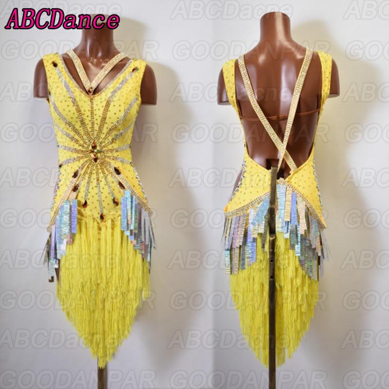 latin dance dress women Sexy backless latin dance dress yellow Tassels Sequins ballroom dance dress tango Rumba Cha Cha dress