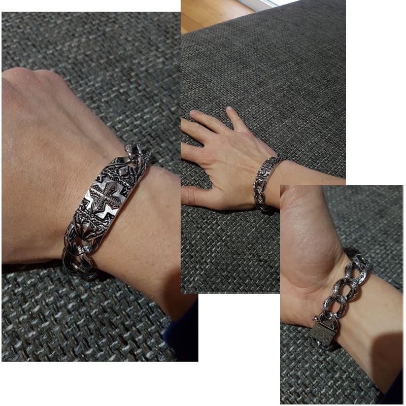 Image 2 - TrustyLan Retro Chain Link Bracelet Men 17MM Wide Heavy Cross Stainless Steel Men's Bracelets Cool Punk Male Jewelry Wristband-in Chain & Link Bracelets from Jewelry & Accessories