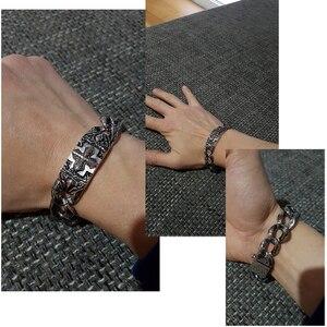 Image 2 - TrustyLan Retro Chain Link Bracelet Men 17MM Wide Heavy Cross Stainless Steel Mens Bracelets Cool Punk Male Jewelry Wristband