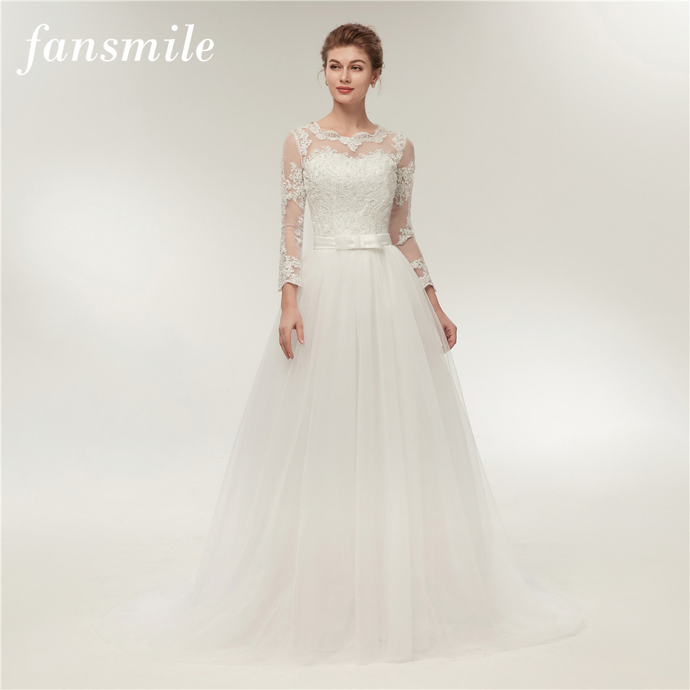 Fansmile Real Photo Simple A Line Lace Wedding Dress Long