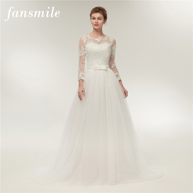 Fansmile Real Photo Simple A Line Lace Wedding Dress Long Sleeve 2018 Customized Plus Size