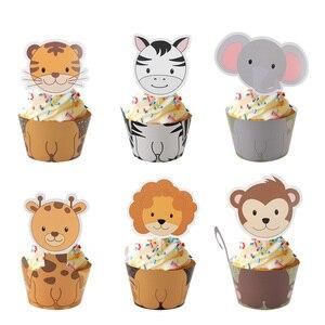 Image 3 - WEIGAO Boy Birthday Cake Decor Zoo Monkey Lion Jungle Party Cake Toppers Safari Birthday Theme Cupcake Wrappers Cake Flags Decor