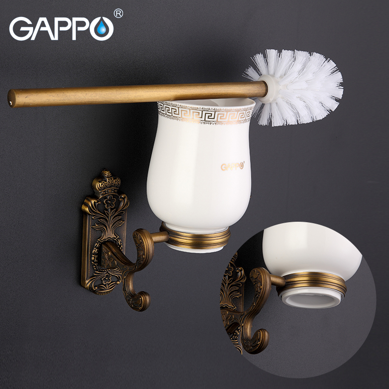 GAPPO Stainless Steel Toilet Brush Holders Wall Mount Single Brush Cetamic cup Holders Antique Toilet Bowl Bathroom Hardware set