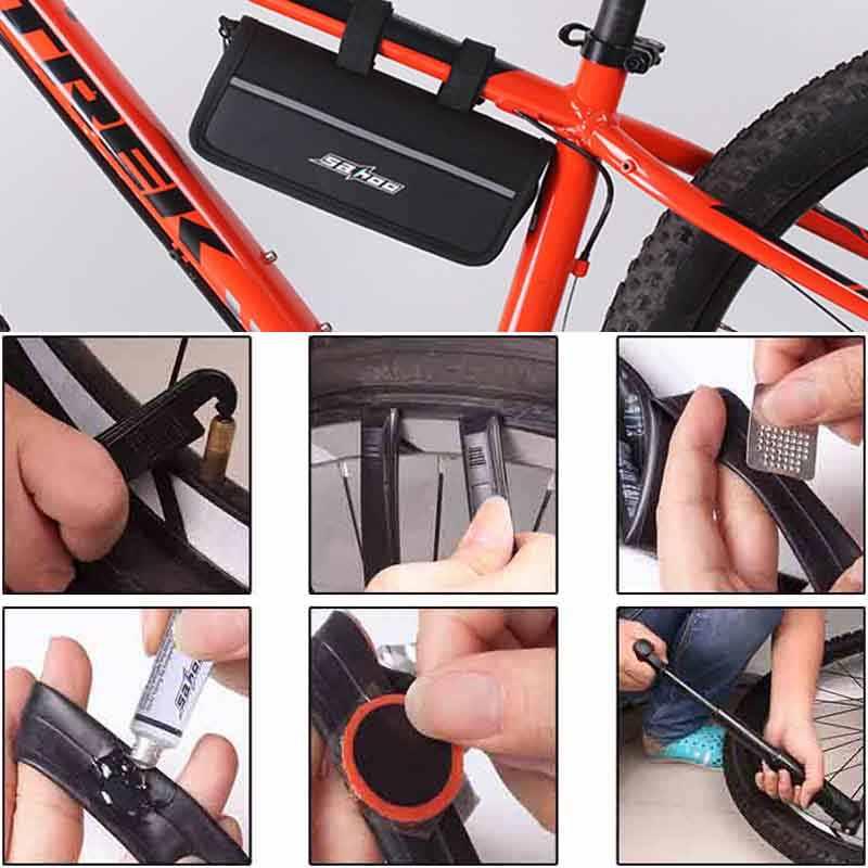 Ensemble d'outils de réparation de vélo Kit d'outils de réparation de vélo multifonction Mini gonfleur de pression réparation de pneu boîte d'outils de vélo de cyclisme
