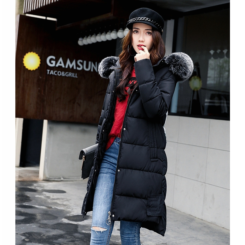 2017 NEW WOMEN WINTER JACKETS HOODED BIG FUR COLLAR MEDIUM LENGTH COAT COTTON PADDED THICKEN WARM FEMALE PARKAS HOT SALE ZL369 2017 new winter jacket women parka large fur collar hooded thicken coat slim medium long cotton padded big pocket warm parkas