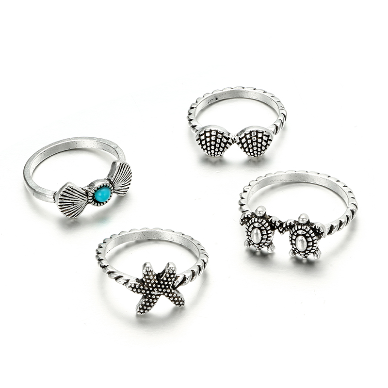 HuaTang Bohemian Antique Silver Ring Geometric Elephant Flower Green Rhinestone Knuckle Rings Midi Finger Anel Rings Jewelry 99