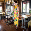 Charming Retro Yellow Satin Silk Cap Sleeve Chinese Traditional Cheongsam Evening Dress High-slit Full-Length Qipao QP19