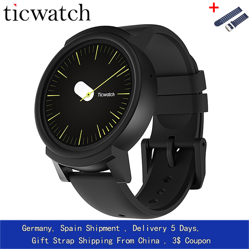GiftStrap Ticwatch E Expres Смарт часы Android Wear OS MT2601 двухъядерный IP67 Водонепроницаемый Bluetooth 4,1 WI FI gps Smartwatch телефон