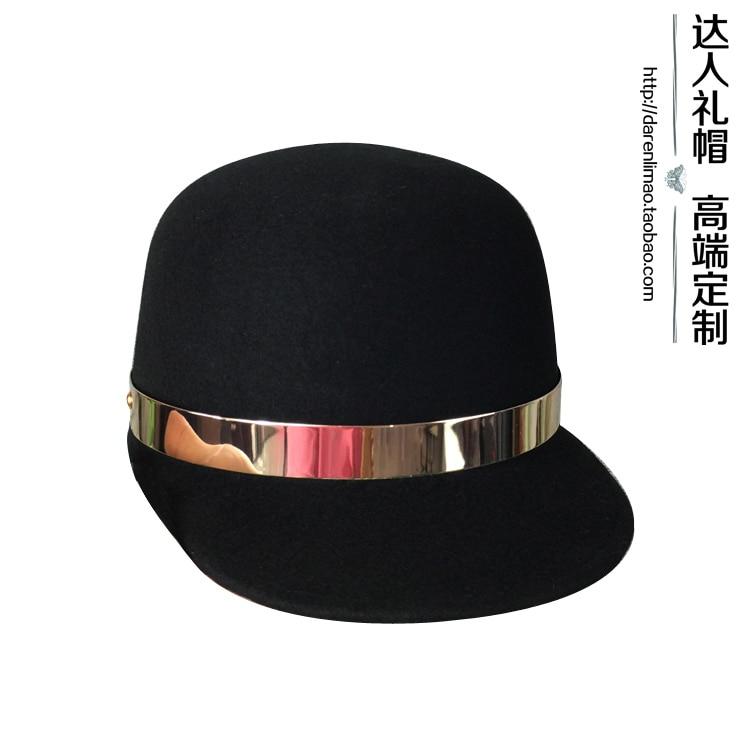 шапка для мальчиков qiaran fedora 10pcs lot fedoras Recessionista fedoras metal ring wool baseball cap fedoras casual all-match women's hat