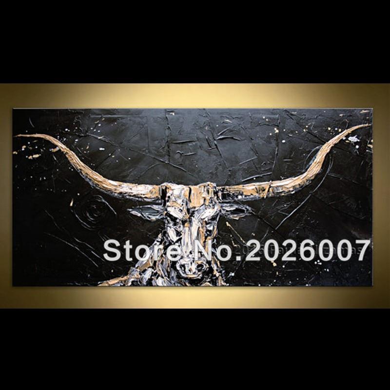 Hand Painted Black Golden White Bull Palette Knife Abstract Canvas Oil Painting Modern Artwork Decoration For Living Room