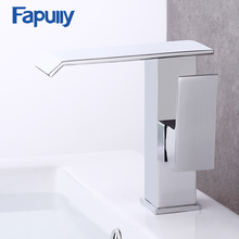 Fapully bathroom waterfall basin sink faucet , chrome