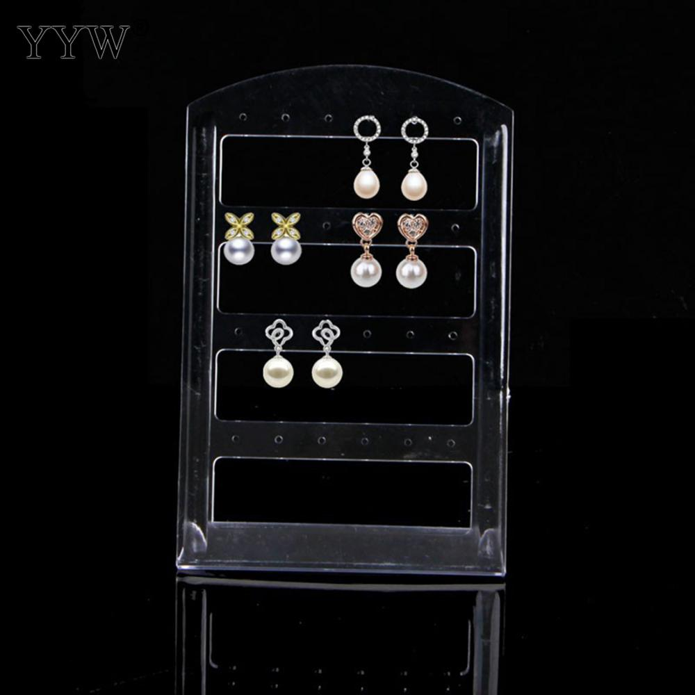 YYW Fashion Polypropylene(PP) Earring Display 50pcs/Lot Transparent Jewelry Stand Holder Show Case