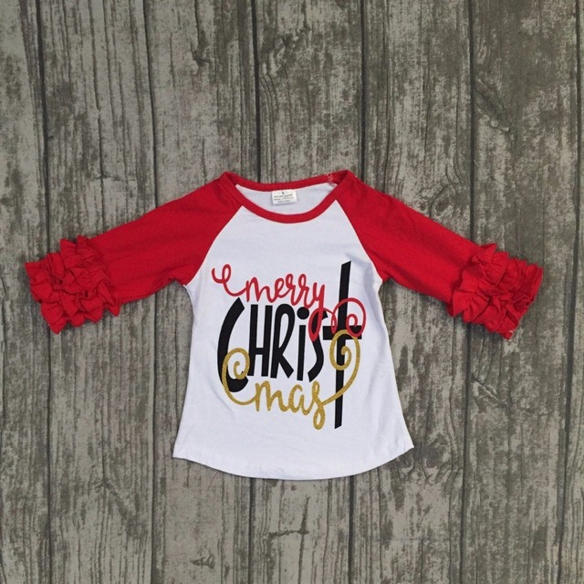 christmas day fallwinter baby girls children clothes red merry christmas boutique cotton top t - What Day Does Christmas Fall On