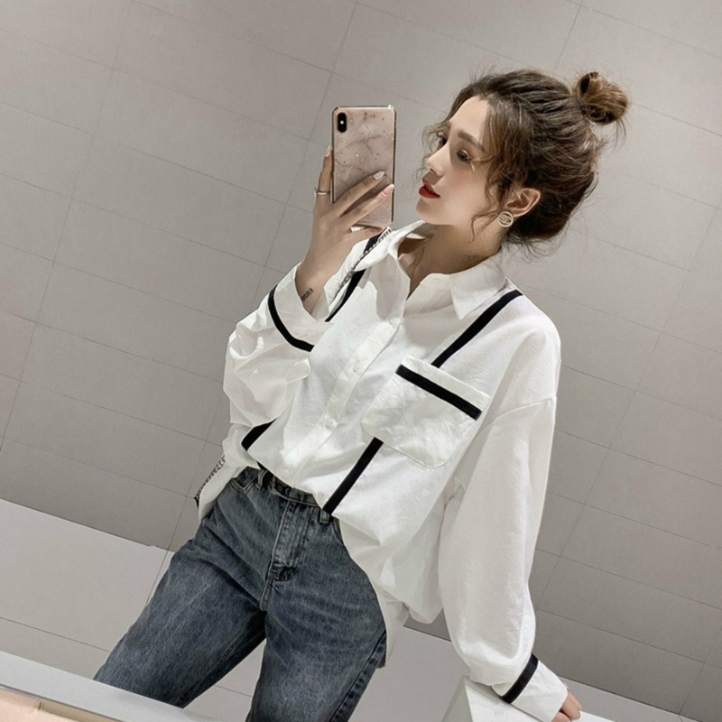 Women Loose Lazy Shirts Ladies Long Sleeve Lapel Casual Tops Female Striped Blouse