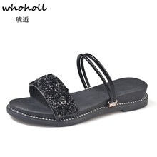 Whoholl Women Sandals Flip Flops 2018 New Summer Fashion Rome Slip-On Breathable Non-slip Shoes Woman Slides Solid Casual Female