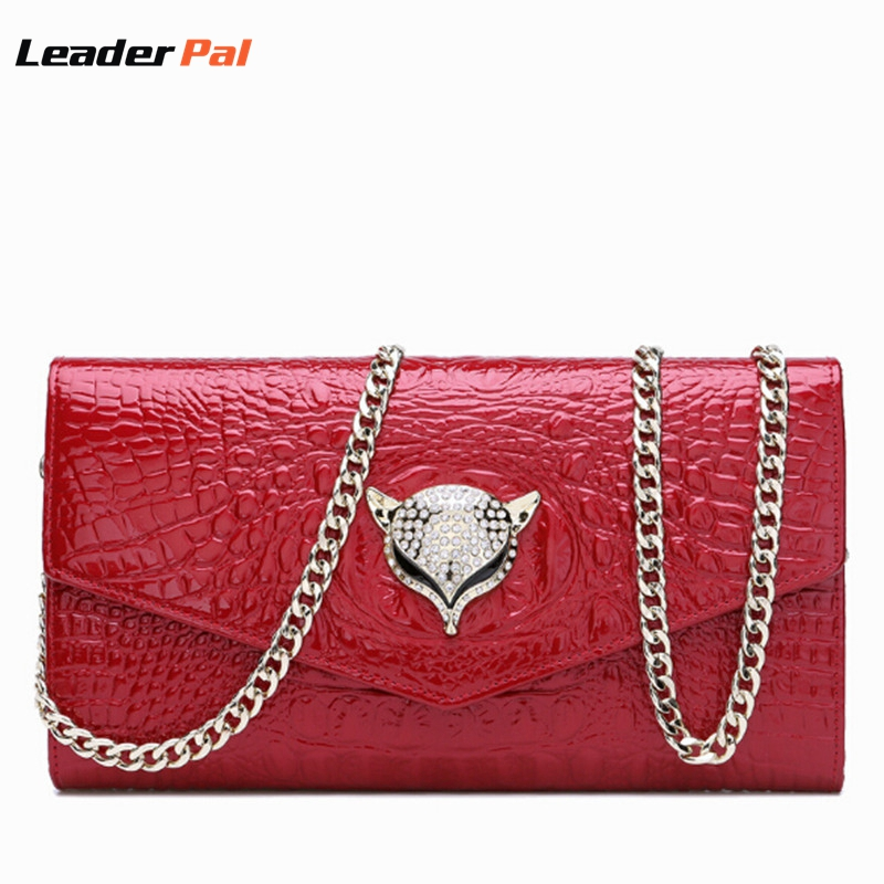 ФОТО Women Crocodile Pattern Handbag Party Evening Envelope Clutch Bag Real Leather Womens Messenger Bags Ladies HandBags with Chian