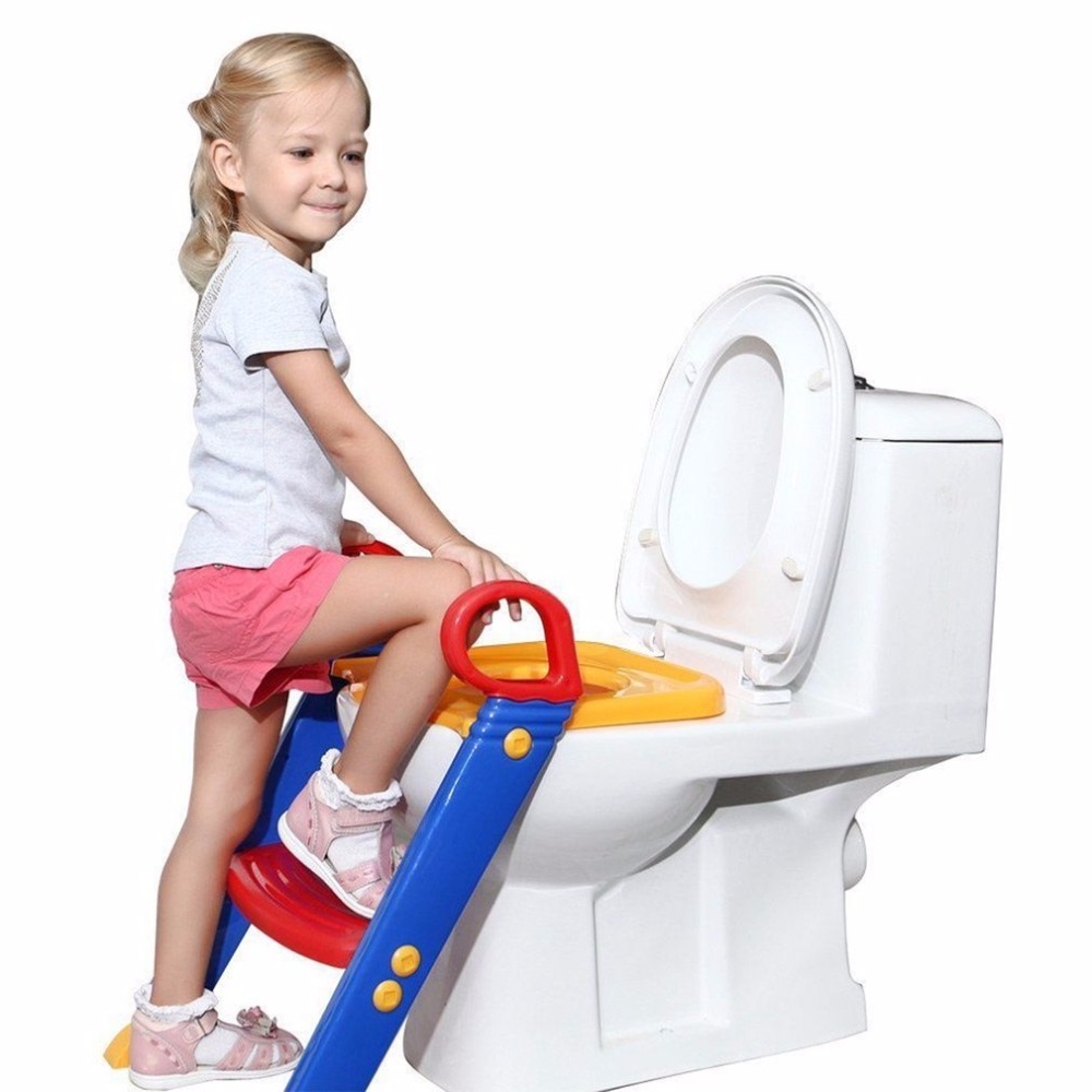 Baby Toilet Seat Folding Potty Trainer Seat Chair Step With Adjustable Ladder Non-Slip Children Potty Chair Toilet Training Seat